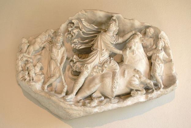 Rilievo scultoreo di Mitra, conservato presso il Museo archeologico nazionale di Aquileia.
